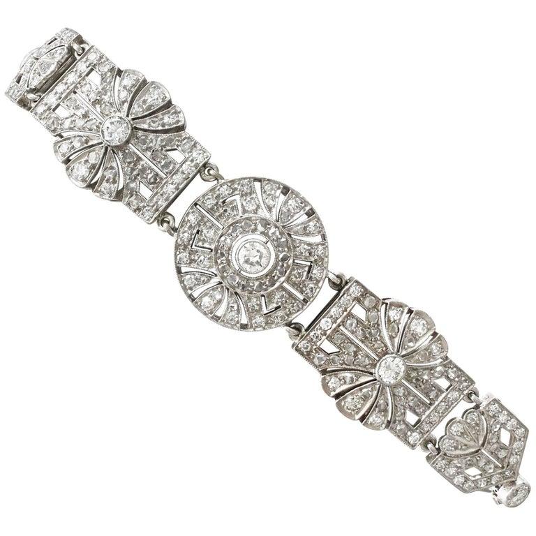 1940s Art Deco 4.48 Carat Diamond and Platinum Bracelet For Sale
