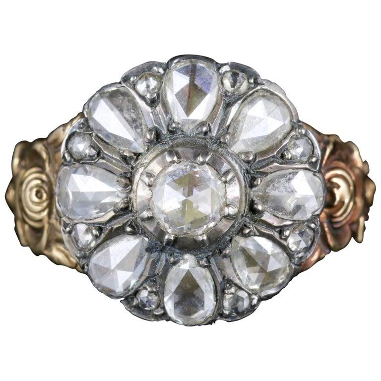 Antique Diamond Flower Ring 18 Carat Gold Silver