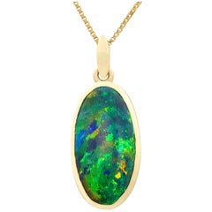 1981 3.82 Carat Black Opal and Yellow Gold Pendant
