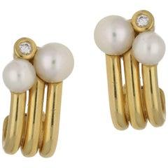 18 Karat Gold Pearl Diamond Earrings