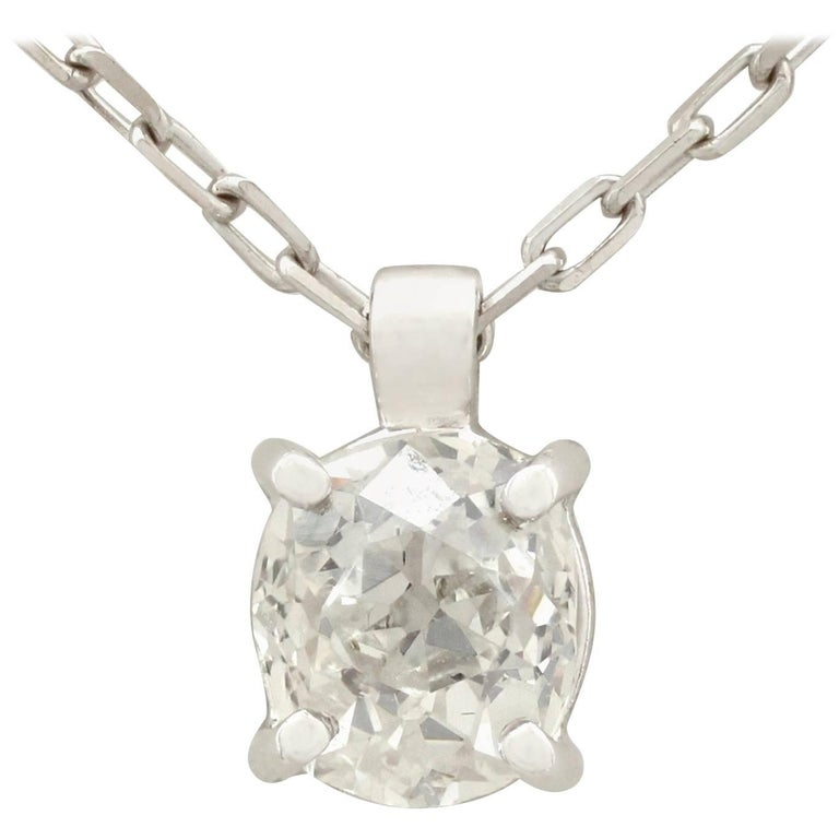 Antique and Contemporary Diamond Platinum White Gold Pendant