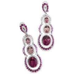 Gilin Tourmaline Rubelite Pink Sapphire and Diamond Party Earrings