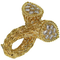 Boucheron Diamonds 18 Karat Yellow Gold Serpent Bohème Toi et Moi Brooch
