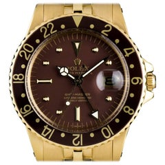 Rolex Yellow Gold GMT-Master Brown Dial Vintage Automatic Wristwatch, Ref 1675