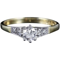 Antique Edwardian Diamond Solitaire Ring 18 Carat Plat, circa 1915