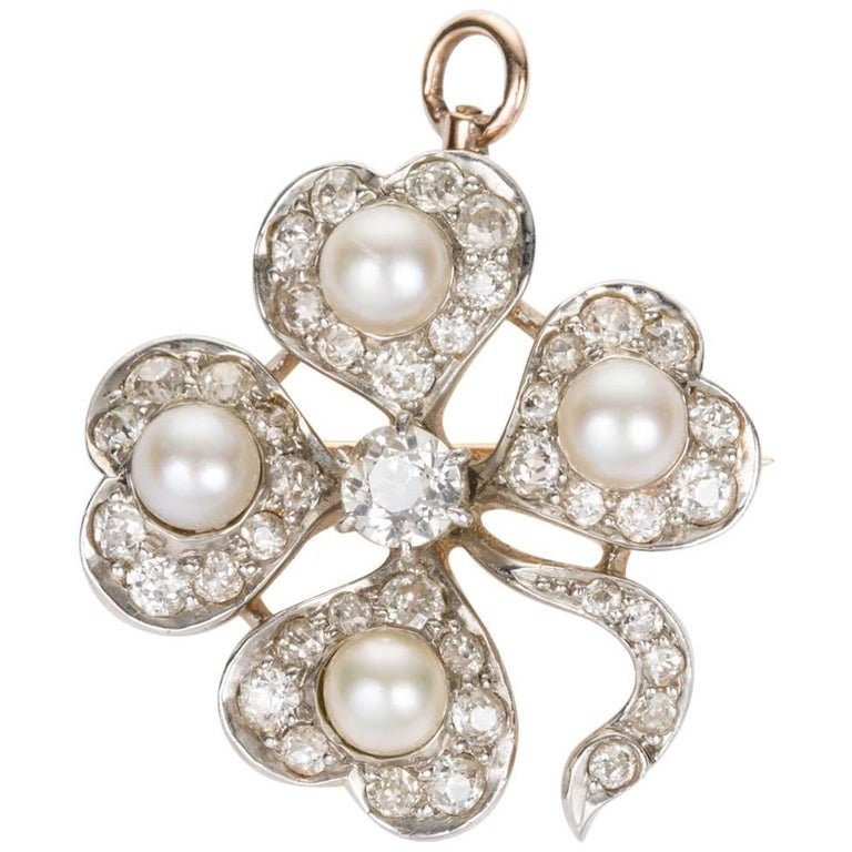 Antique Old European Cut Diamond and Pearl Shamrock Pendant Pin