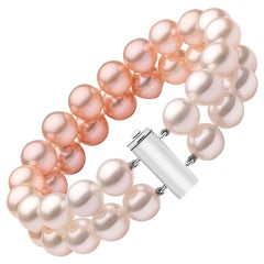 Yoko London White South Sea and Pink Pearl Row Bracelet Set on 18 Karat Gold