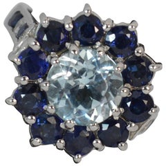 Topaz Sapphire and Diamond Solid Platinum Cluster Ring