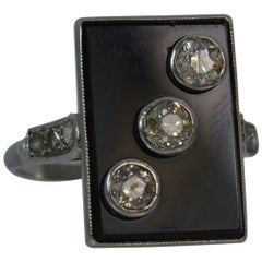 Art Deco Onyx Slab Old and Rose Cut Diamond 18 Carat White Gold Panel Ring