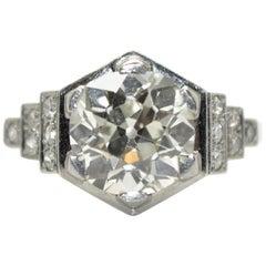 French Art Deco Platinum 3.50 Carat Diamond Solitaire Engagement Ring circa 1930