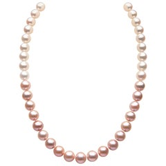 Yoko London Pink and White Pearl Row Necklace Set on 18 Karat White Gold