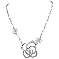 Diamond Floral Necklace in 18 Karat White Gold