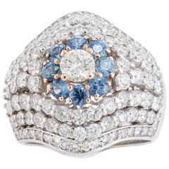 Diamonds Blue Sapphires White Gold Ring