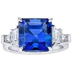 7.25 Carat Asscher Cut Blue Tanzanite and Diamond Platinum Ring