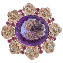 Amethyste Rubies Diamonds Rose Gold Ring