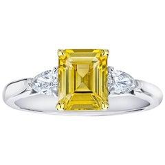 2.17 Carat Emerald Cut Yellow Sapphire and Diamond Ring
