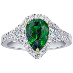 2.23 Carat Pear Shape Green Tsavorite and Diamond Ring
