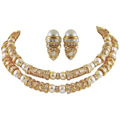 Bulgari Diamond and Pearl Detachable Long Necklace and Earclips