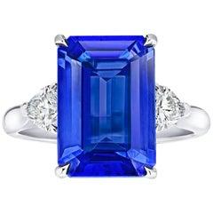 6.29 Carat Emerald Cut Blue Tanzanite and Diamond Platinum Ring