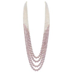 Yoko London Pink and White Pearl Multi-Row Long Necklace Set in 18 Karat Gold