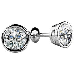Bezel-Set Round Diamond Stud Earrings '1/3 Carat, Very Good, SI1-SI2' Screw Back
