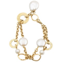 Yvel Golden Brown Link Bracelet with Pearl Gemstones, 18 Karat Yellow Gold