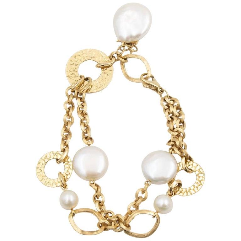 Yvel Golden Brown Link Bracelet with Pearl Gemstones, 18 Karat Yellow Gold