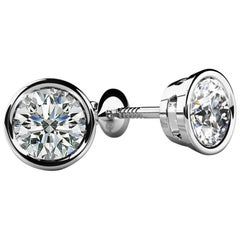 Bezel-Set Round Diamond Stud Earrings '3/4 Carat, Very Good, SI1-SI2' Screw Back
