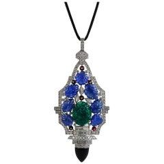 Platinum Diamond, Carved Sapphire, Emerald Necklace