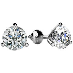 3 Prong-set Round Diamond Stud Earrings (1/6ct, Very Good, SI1-SI2) Screw-Back