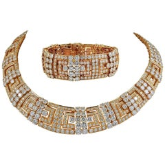 Cartier Diamond Gold Necklace and Bracelet