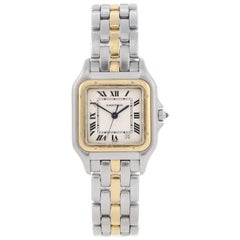 Cartier Yellow Gold Stainless Steel Panthere Bracelet quartz Wristwatch