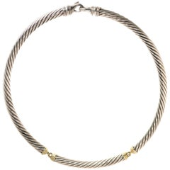David Yurman Two-Tone Cable Choker Necklace