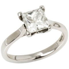 Platinum Princess Cut 1.89 Carat Diamond Solitaire Engagement Ring