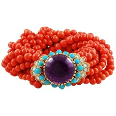 Cartier Amethyst, Diamond, Coral, Turquoise Bead Bracelet