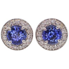 18k Earrings: 2.21 carats Chatham-Created Blue Sapphire & 0.39 carats of Diamond