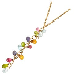Tiffany & Co. Yellow Gold Multi Gem Rainbow Necklace