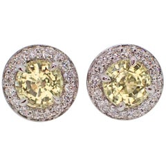 18K Earrings: 2.28 carats Chatham-Created Yellow Sapphire & 0.38 carats Diamond
