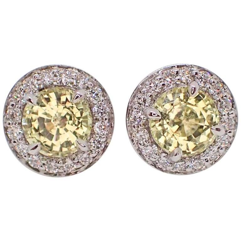 18K Earrings: 2.28 carats Chatham-Created Yellow Sapphire & 0.38 carats Diamond