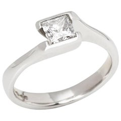 Platinum GIA Certified Princess Cut 0.55 Carat Diamond Engagement Ring