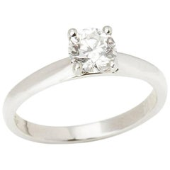 Platinum GIA Certified Round Brilliant Cut Diamond Engagement Ring