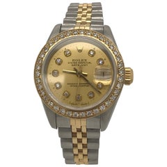Rolex Ladies yellow gold stainless steel Datejust Champagne Dial Wristwatch