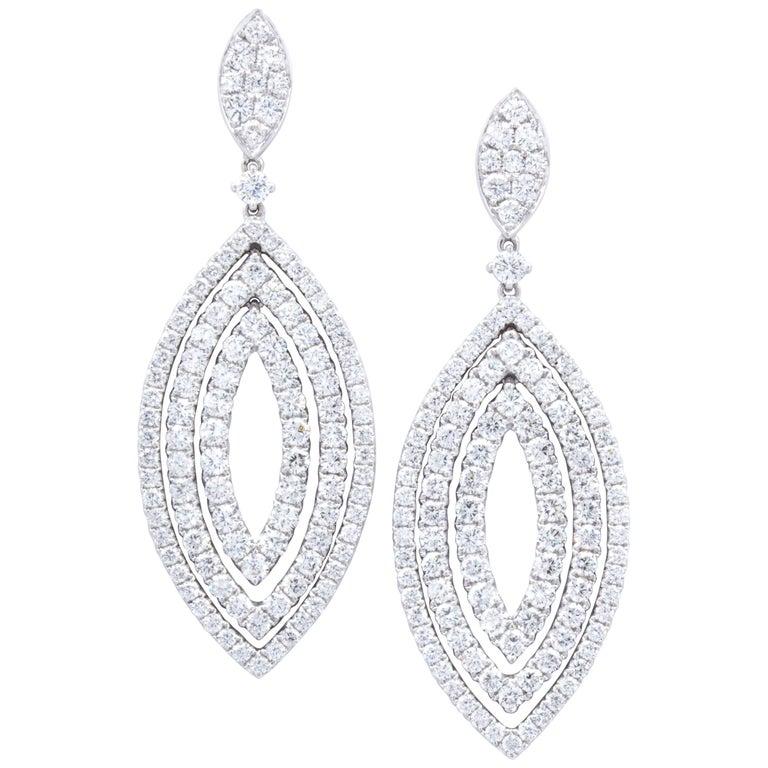 David Rosenberg 4.59 Total Carat Marquise Shape Dangling Diamond Earrings