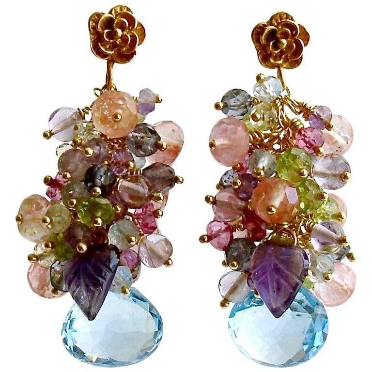 Blue/Pink Topaz, Amethyst, Lemon/Cherry Quartz, Peridot Iolite Cluster Earrings