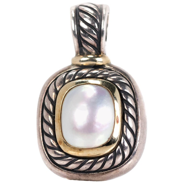 David Yurman Pearl Two-Tone Cable Charm Pendant