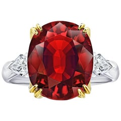 6.66 Carat Oval Red Spinel and Diamond Platinum and 18k Yellow Gold Ring