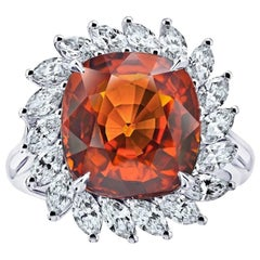 8.08 Carat Cushion Cut Orange Sapphire and Diamond Ring