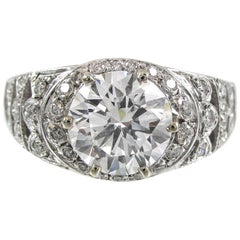 1.98 Carat Round GIA Certified Brilliant Diamond Gold Ring