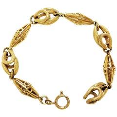 Vintage Fancy Link Bracelet / 18 Karat Yellow Gold