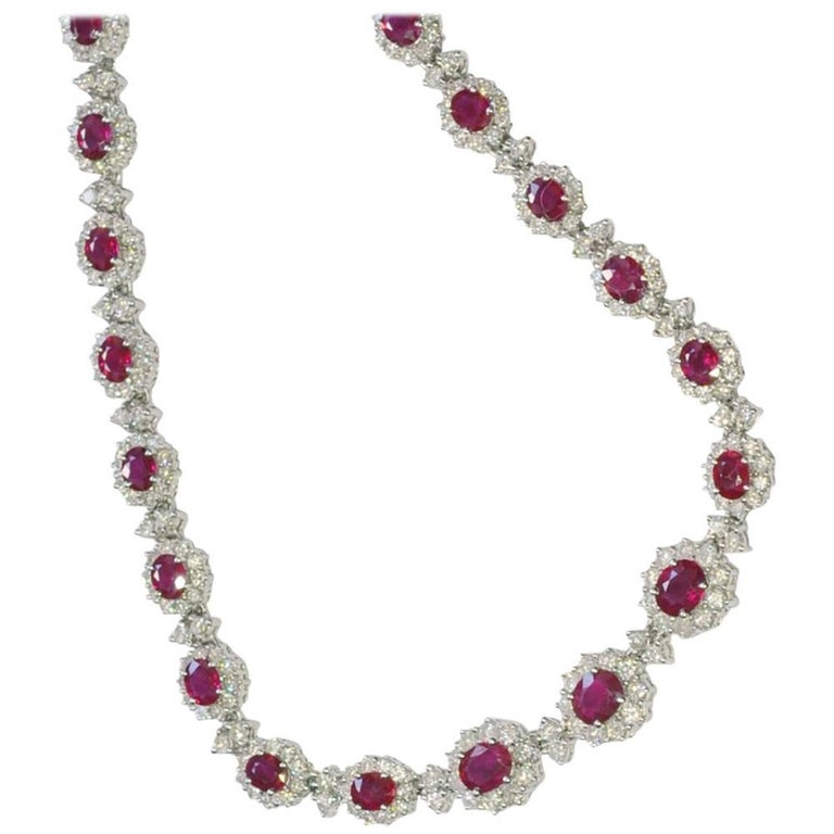 Ruby Diamond and 18 Carat Gold Necklace
